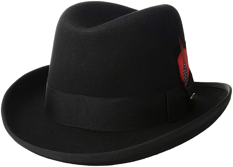 Scala Classico Men's Wool Felt Homburg Hat, Black, X-Large