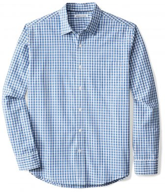 Amazon Essentials Men's Regular-Fit Long-Sleeve Check Casual Poplin Shirt