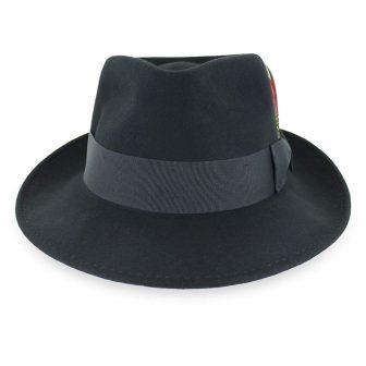 Belfry Gangster 100% Wool Stain-Resistant Crushable Dress Fedora in Black,Grey,Navy