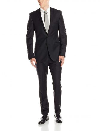 Ben Sherman Men's Camden Black Solid Two-Button Side-Vent Suit