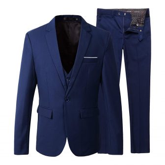Benibos Men's Slim Fit Suit Blazer Jacket Tux Vest Pants 3 Pieces Suit Set