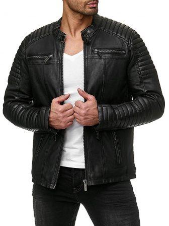 COOFANDY Men's Classic Pu Leather Motorcycle Jacket Biker Jacket Zipper Coat