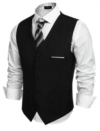 COOFANDY Men's Fashion Formal Slim Fit Business Dress Suit Vest Waistcoat