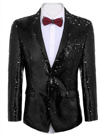 COOFANDY Men's Shiny Sequins Suit Jacket Blazer One Button Tuxedo for Party,Wedding,Banquet,Prom