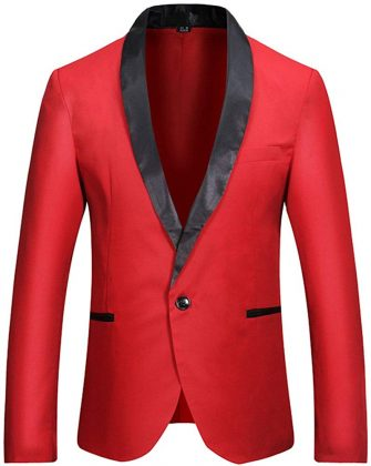 D-Sun Men's Slim Fit Blazer Jacket Solid Cotton Casual One Button Sport Coats
