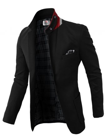 H2H Mens Casual Slim Fit Jackets Mandarin Collar Single Breasted