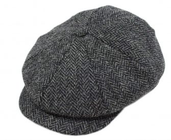 John Hanly Blinder Hat Wool Charcoal Herringbone Made in Ireland