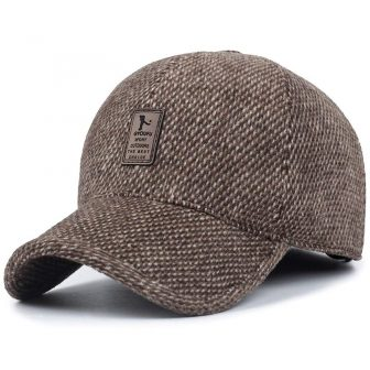 Men's Winter Warm Wool Woolen Tweed Peaked Baseball Cap Hat with Fold Earmuffs Warmer