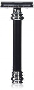 Merkur Heavy Duty Long Handled Barber Pole Safety Razor, Black
