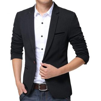 Pishon Men's Slim Fit Suits Casual One Button Flap Pockets Solid Blazer Jacket