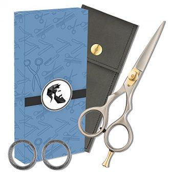 Premium 5' Japanese Steel Razor Edge Beard & Mustache Scissors with Comfort...