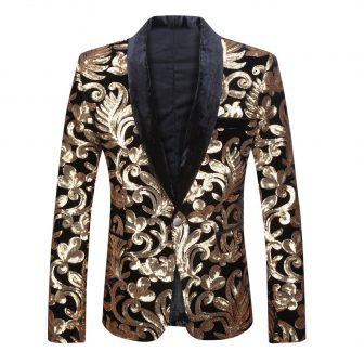 PYJTRL Men Fashion Velvet Sequins Floral Pattern Suit Jacket Blazer