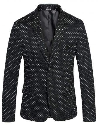 SSLR Men's Polka Dots Two Button Casual Knit Blazer Jacket