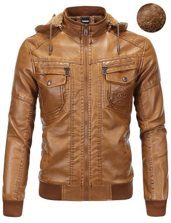 Tanming Men's Plus Velvet Motorcycle Pu Faux Leather Jacket with Removable Fur Hood