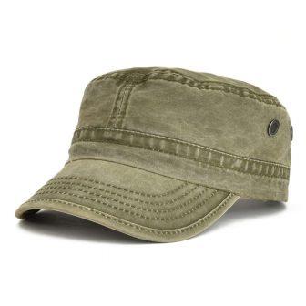 2ec731b1169 VOBOOM Washed Cotton Military Caps Cadet Army Caps Unique Design Vintage Flat  Top Cap